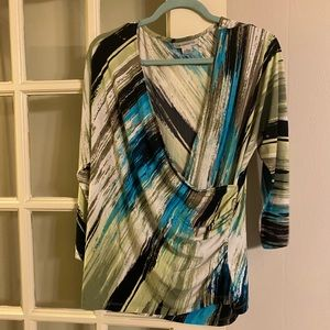 Liz Claiborne turquoise and green blouse